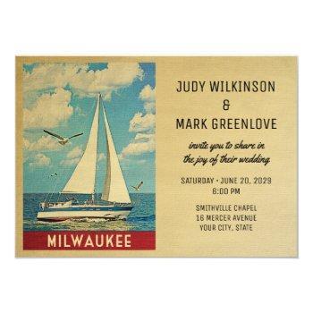 Small Milwaukee Wedding Invitation Sailboat Front View