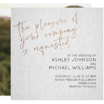 minimal black & white gold script photo wedding invitation