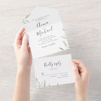 minimal greenery calligraphy rustic wedding all in one invitation