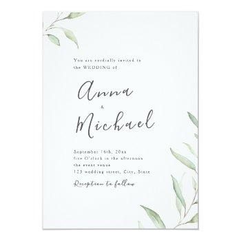 Small Minimal Greenery Calligraphy Rustic Wedding Invitation Front View