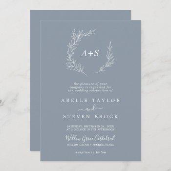 minimal leaf   blue & white all in one wedding invitation