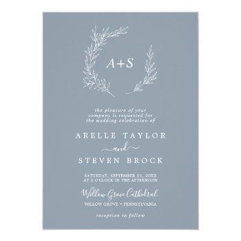 minimal leaf blue & white formal monogram wedding invitation
