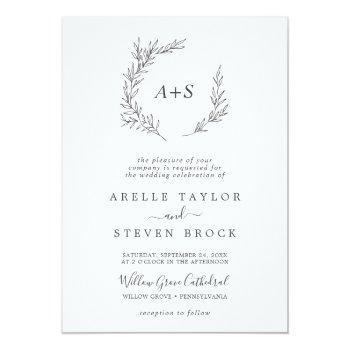 minimal leaf | dark gray formal monogram wedding invitation