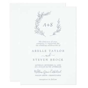 minimal leaf | dusty blue all in one wedding invitation
