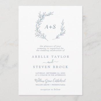 minimal leaf | dusty blue formal monogram wedding invitation