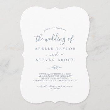 minimal leaf | dusty blue monogram back wedding invitation