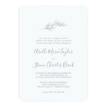 minimal leaf | dusty blue traditional wedding invitation