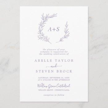minimal leaf | dusty purple monogram wedding invitation