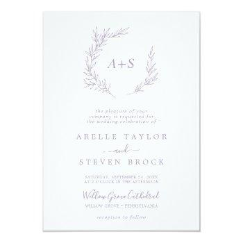 Small Minimal Leaf   Dusty Purple Monogram Wedding Invitation Front View