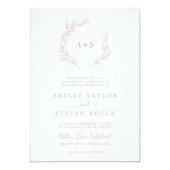 minimal leaf | dusty rose formal monogram wedding invitation