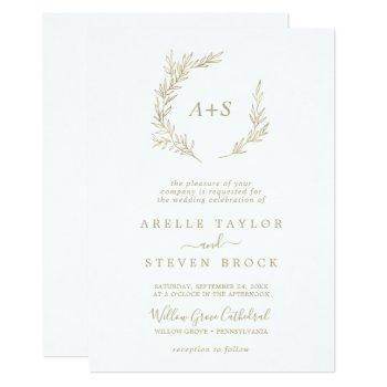 minimal leaf | gold all in one wedding invitation