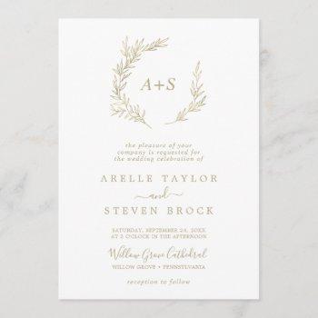 minimal leaf | gold formal monogram wedding invitation