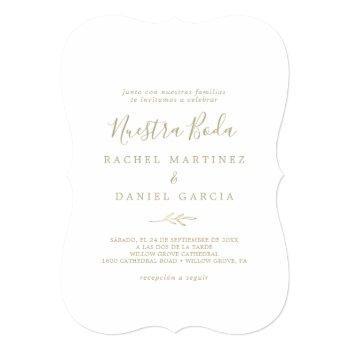 minimal leaf | gold spanish nuestra boda invitation