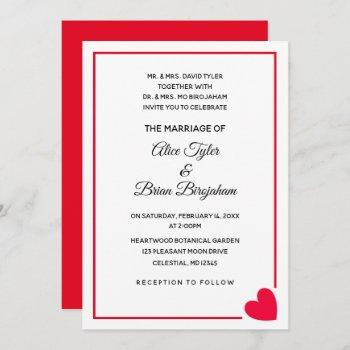 minimal modern red heart valentine wedding invitation