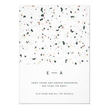 minimal modern terrazzo pattern green pink wedding invitation