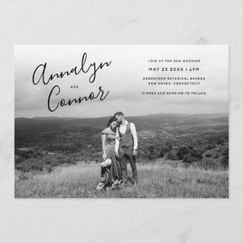 minimal script photo | modern monochrome wedding invitation