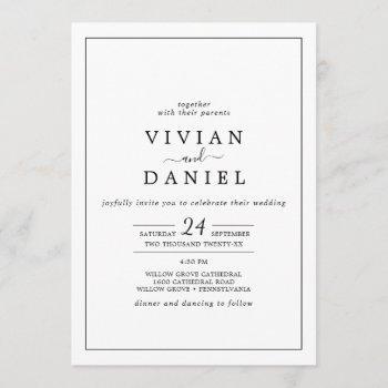 minimalist all in one wedding invitation