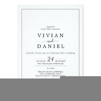 Small Minimalist All In One Wedding Invitation Front View