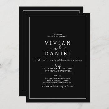 minimalist   black all in one wedding invitation