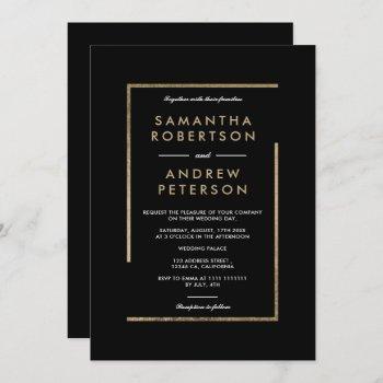 minimalist black white gold chic elegant wedding invitation