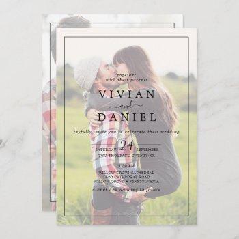 minimalist   faded photo all in one wedding invita invitation