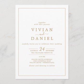 minimalist gold all in one wedding invitation