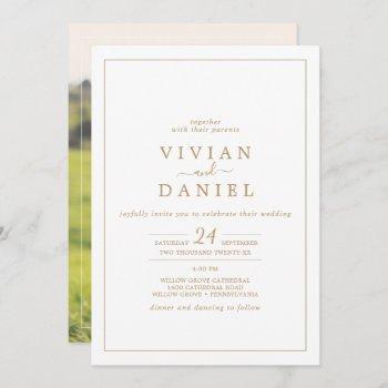 minimalist gold photo on the back wedding invitation