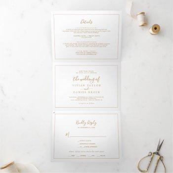 minimalist gold photo wedding all in one tri-fold invitation