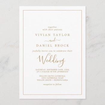 minimalist gold wedding invitation