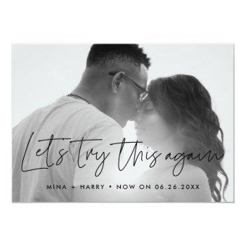 Small Minimalist Let's Try This Again Wedding Update Announcement Front View