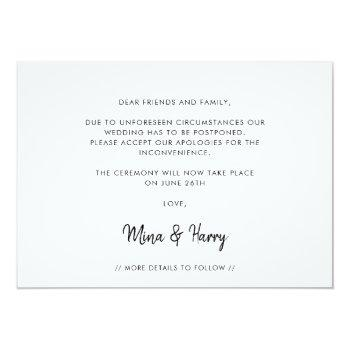 Small Minimalist Let's Try This Again Wedding Update Announcement Back View