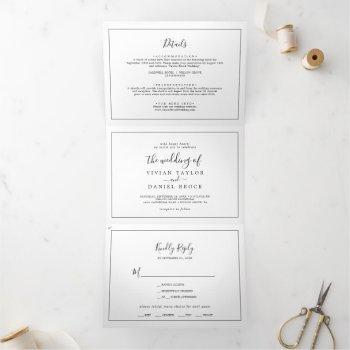 minimalist photo wedding all in one tri-fold invitation
