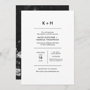 minimalist photo wedding invitation