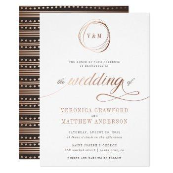minimalist rose gold typography wedding invitation