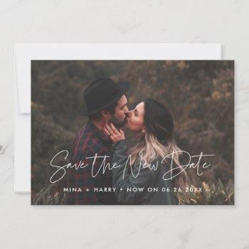 minimalist save the new date wedding update photo announcement