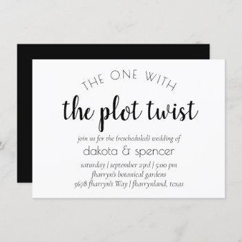 minimalist script | one with wedding plot twist invitation