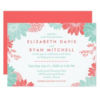 mint and coral modern floral wedding invitation