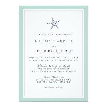 mint and navy starfish nautical wedding invitation