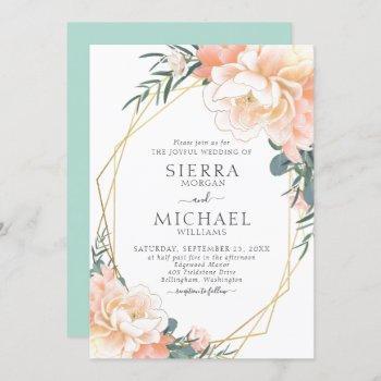 mint green blush gold peach cream floral wedding invitation