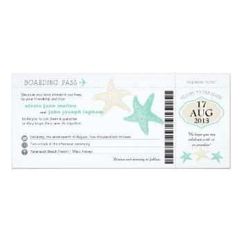 mint green cream starfish boarding pass wedding invitation