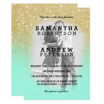 mint green gold glitter ombre photo wedding invitation