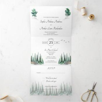 misty woodland wedding invitation
