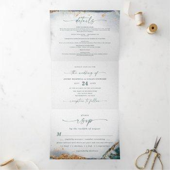 modern abstract eucalyptus green budget wedding tri-fold invitation