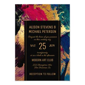 modern abstract painting gold black red wedding invitation
