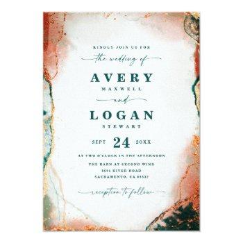 Small Modern Abstract Teal Copper & Gold Fall Wedding Invitation Front View