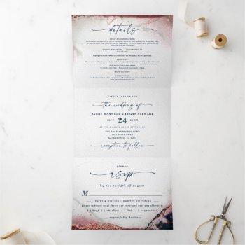modern abstract watercolor burgundy & navy wedding tri-fold invitation