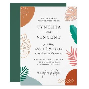 modern abstraction tropical leaves summer wedding invitation
