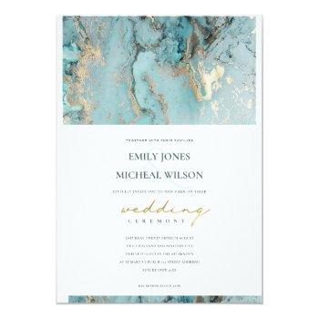 Small Modern Aqua Dusky Blue Foil Gold Agate Wedding Invitation Front View