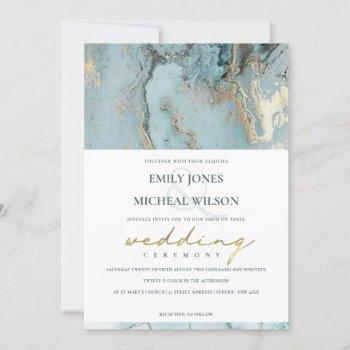 modern aqua dusky blue gold agate wedding invite