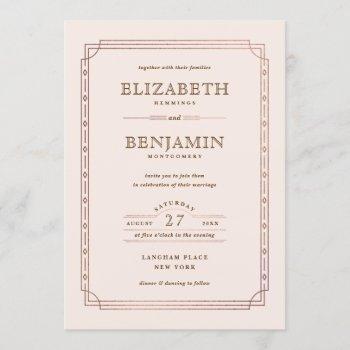 modern art deco gold foil border blush wedding invitation